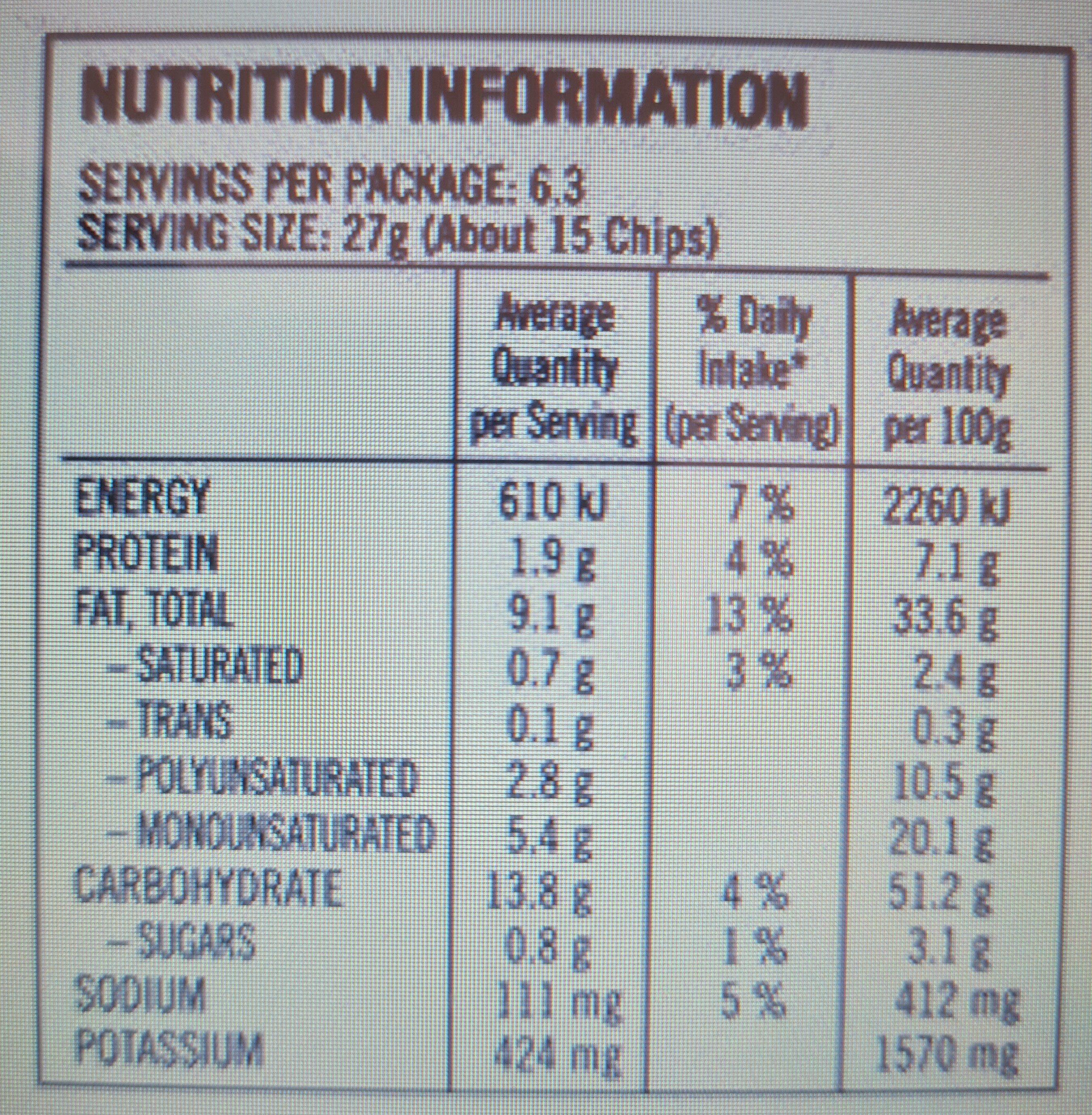 Smith's - Nutrition facts - en