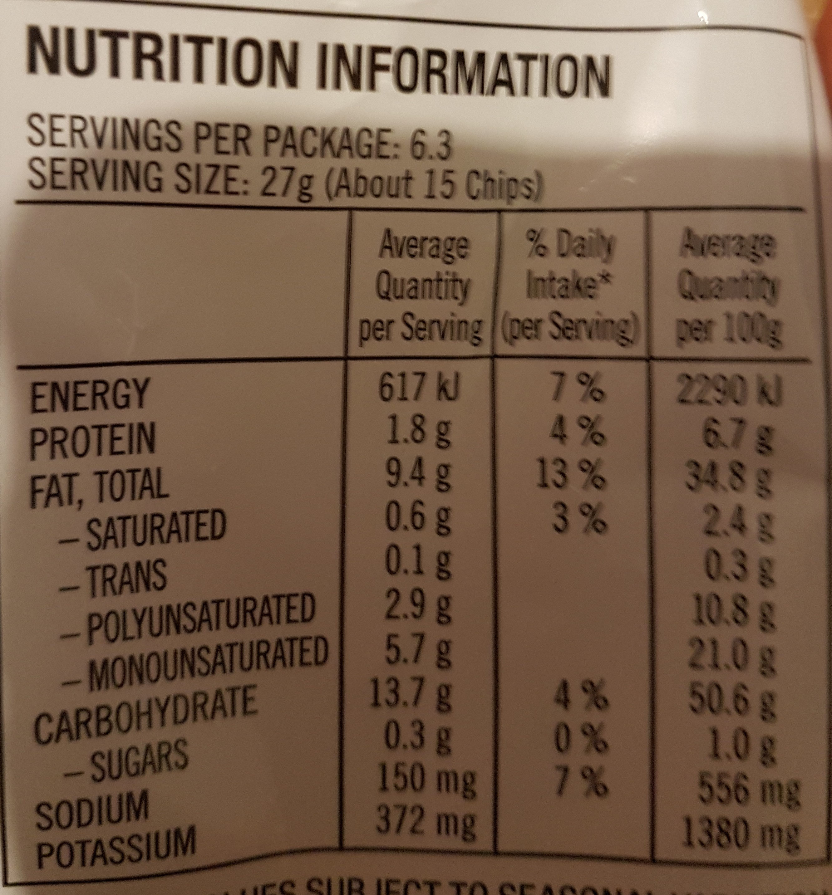 chips, original - Nutrition facts - en
