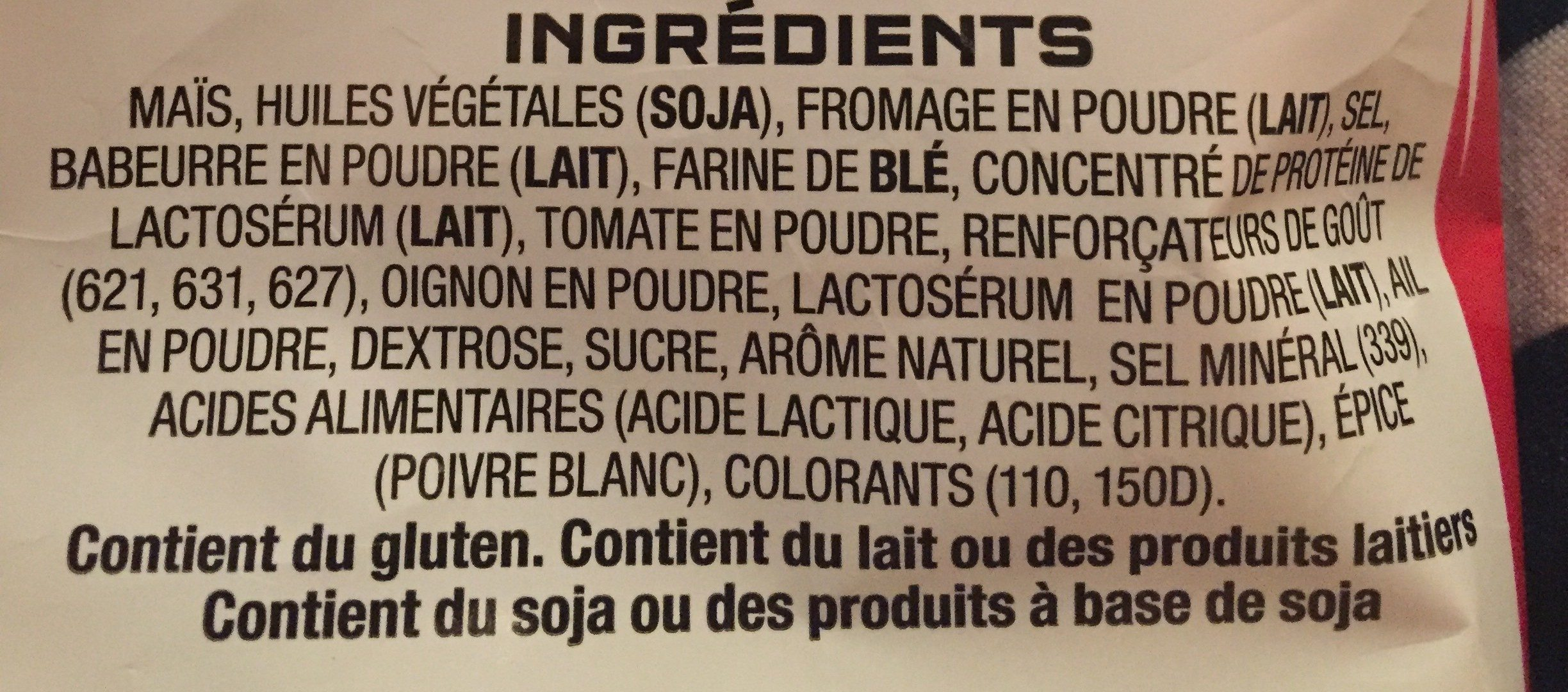 Cheese Supreme Corn Chips - Ingredients