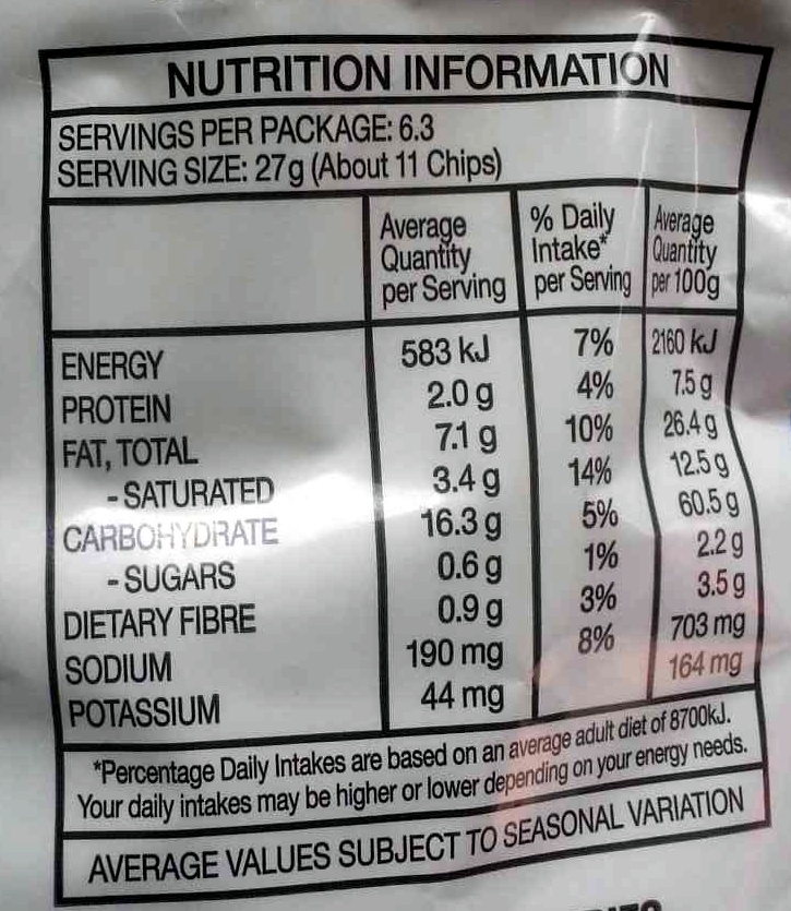 Doritos Cool Ranch flavoured corn chips - Nutrition facts