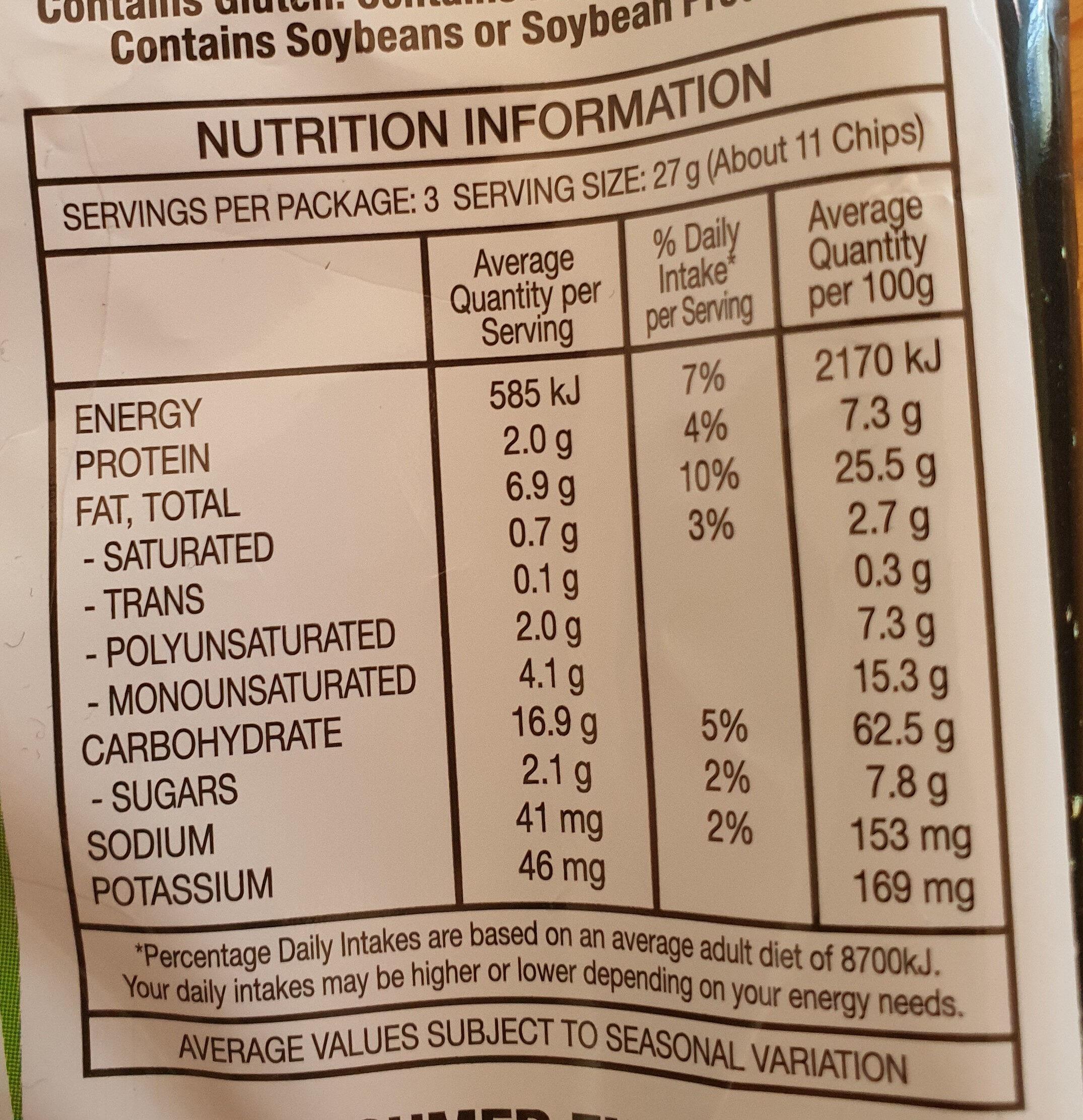 Doritos Mountain Dew - Nutrition facts - en