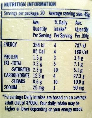 Streets Blue Ribbon Classic Vanilla - Nutrition facts - en