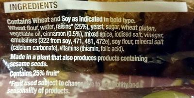 Mighty Soft Raisin Toast Bread - Ingredients - en