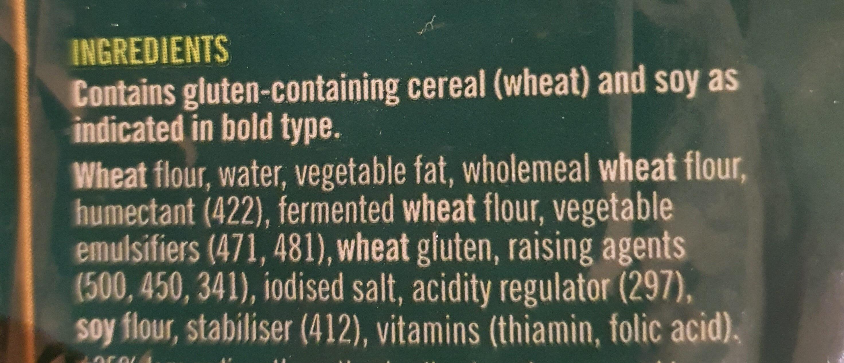 Tarditional White Wrap - Ingredients - en