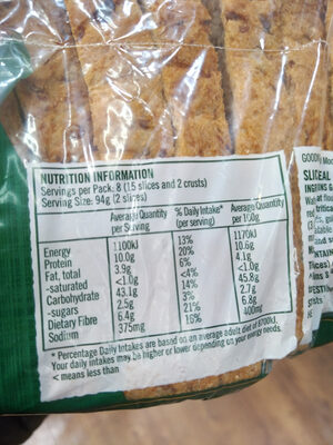Wholemeal Square Loaf with 10 Grains & Seeds - Nutrition facts - en