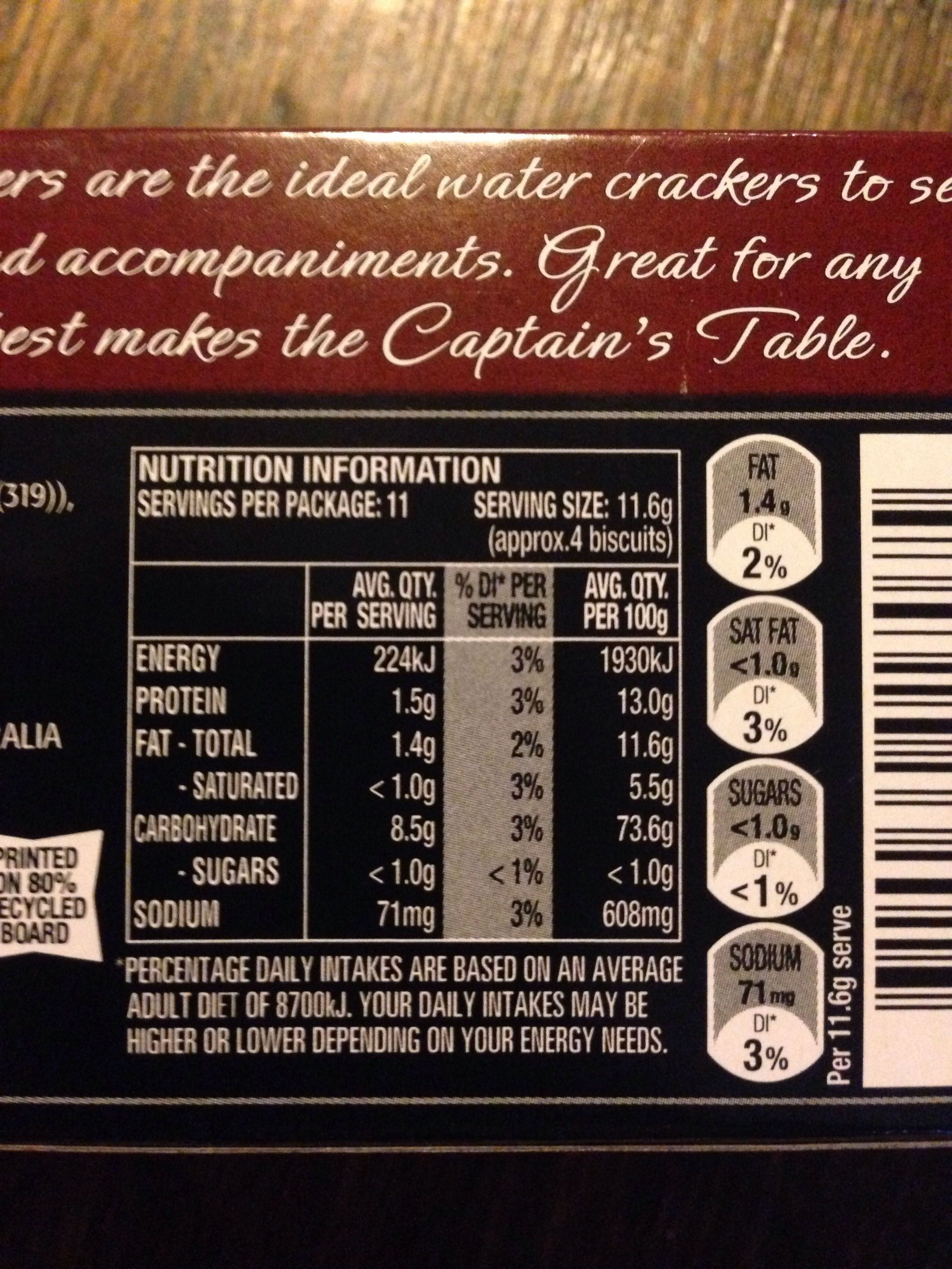 Captain's Table Cracked Pepper Water Crackers - Nutrition facts - en
