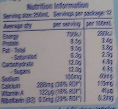Pauls Milk - Nutrition facts