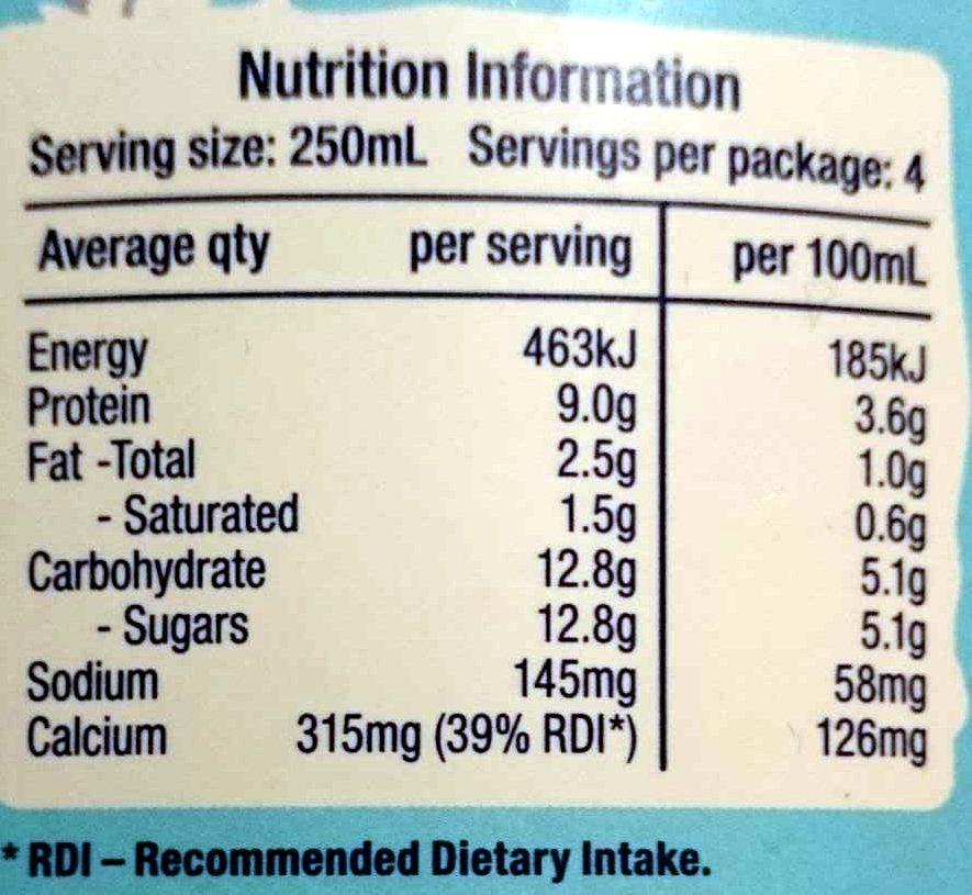 Pure Organic - Nutrition facts - en