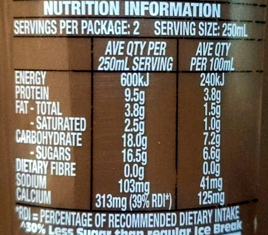Ice Break Real Ice coffee Ice Cold Stripped - Nutrition facts - en