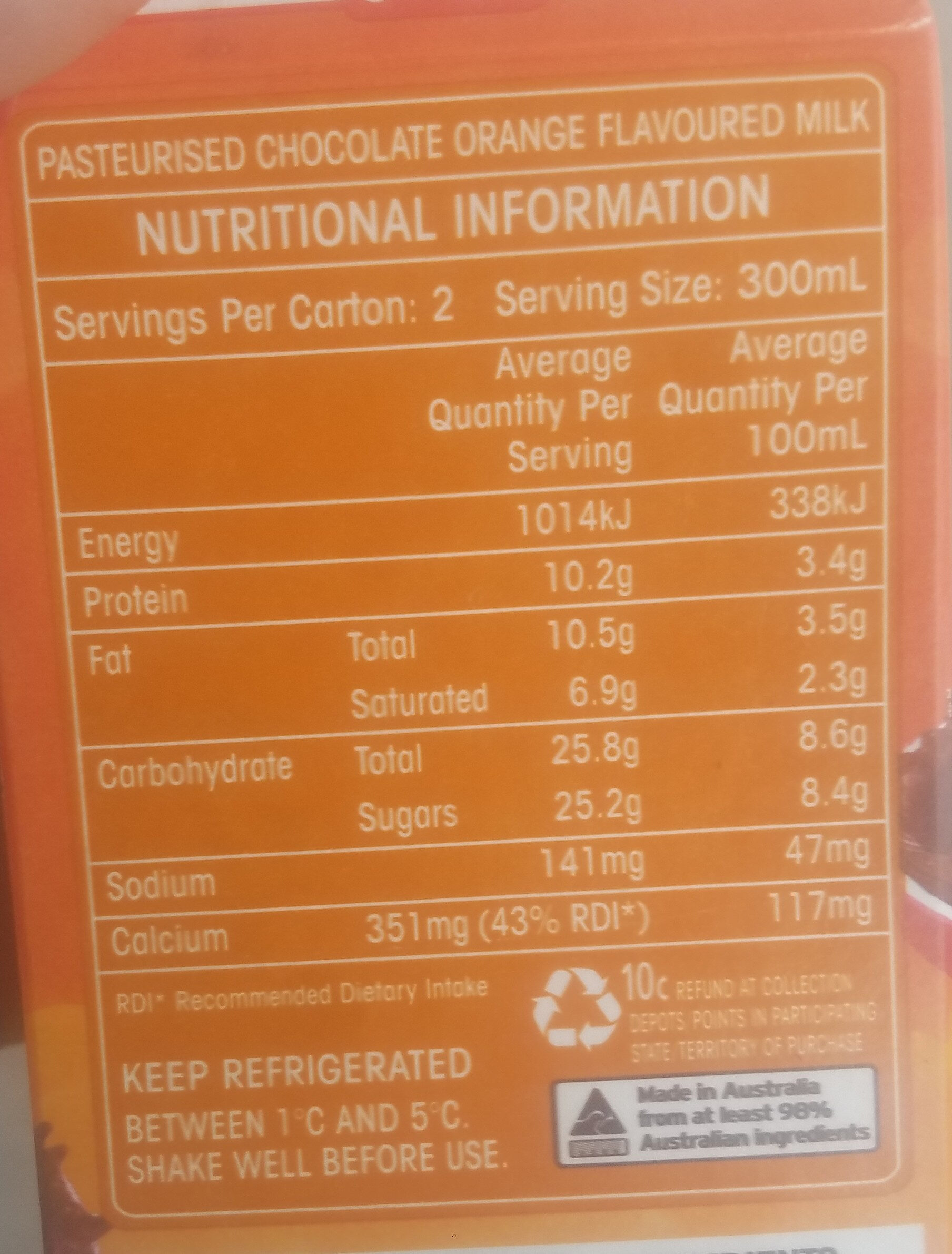 Jaffas - Nutrition facts