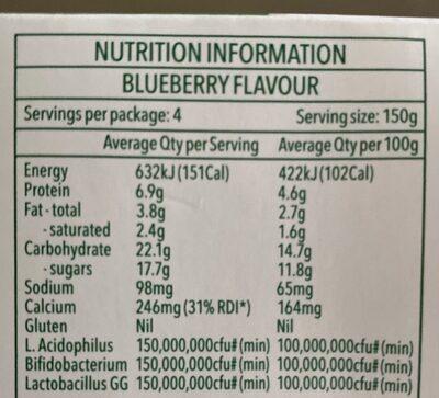Vaalia Probiotics Yoghurt - Informations nutritionnelles - fr