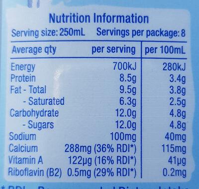 Milk Full Cream - Nutrition facts - en
