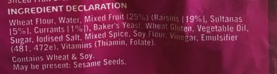 Tip Top Raisin Toast - Ingredients