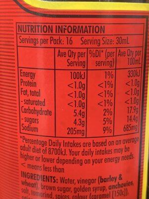Worcestershire sauce - Nutrition facts - en