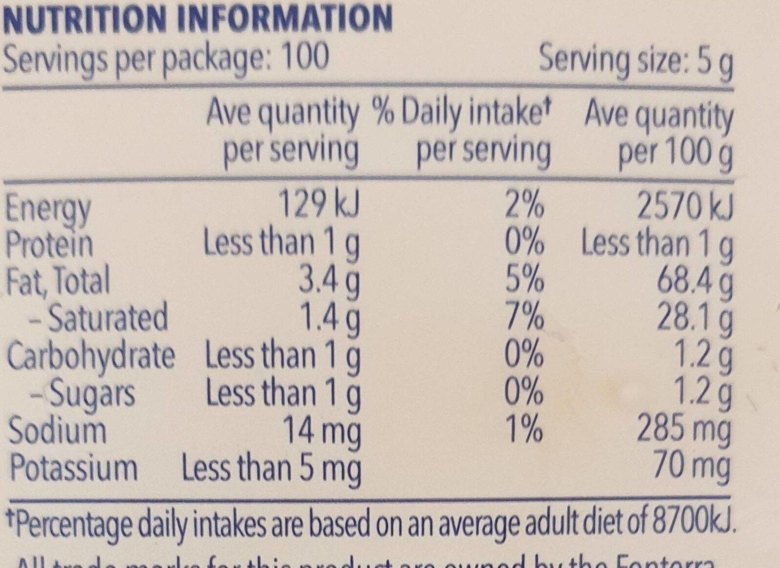 Salt Reduced Dairy Blend - Nutrition facts - en