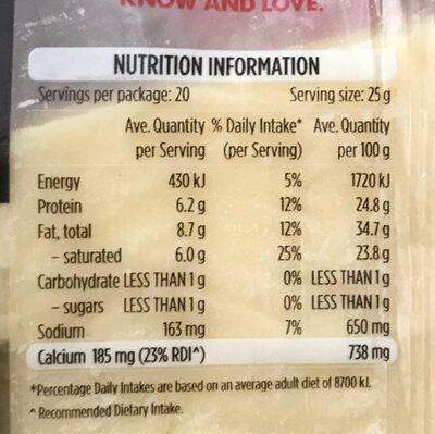 Cheddar Cheese - Valori nutrizionali - fr