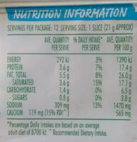 Cheese slices - Nutrition facts