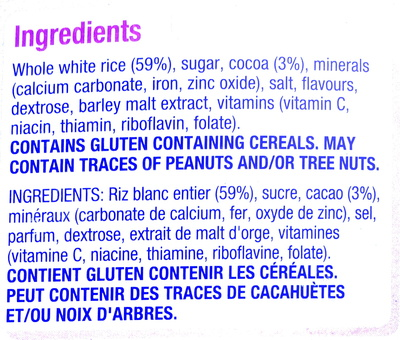Coco pops - Ingredients