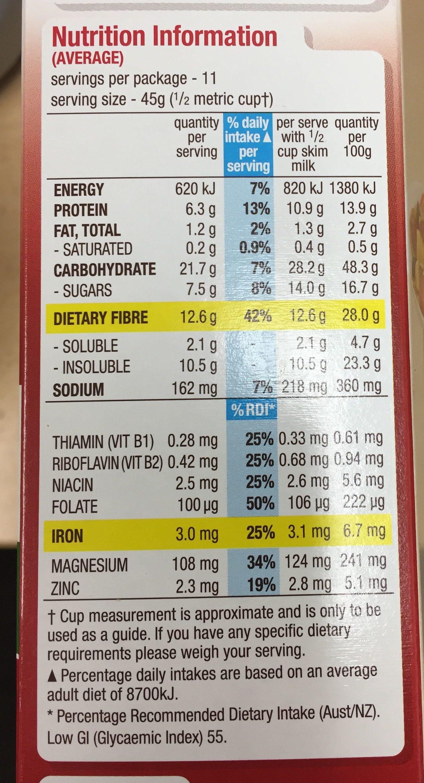 All-Bran Original - Nutrition facts - en