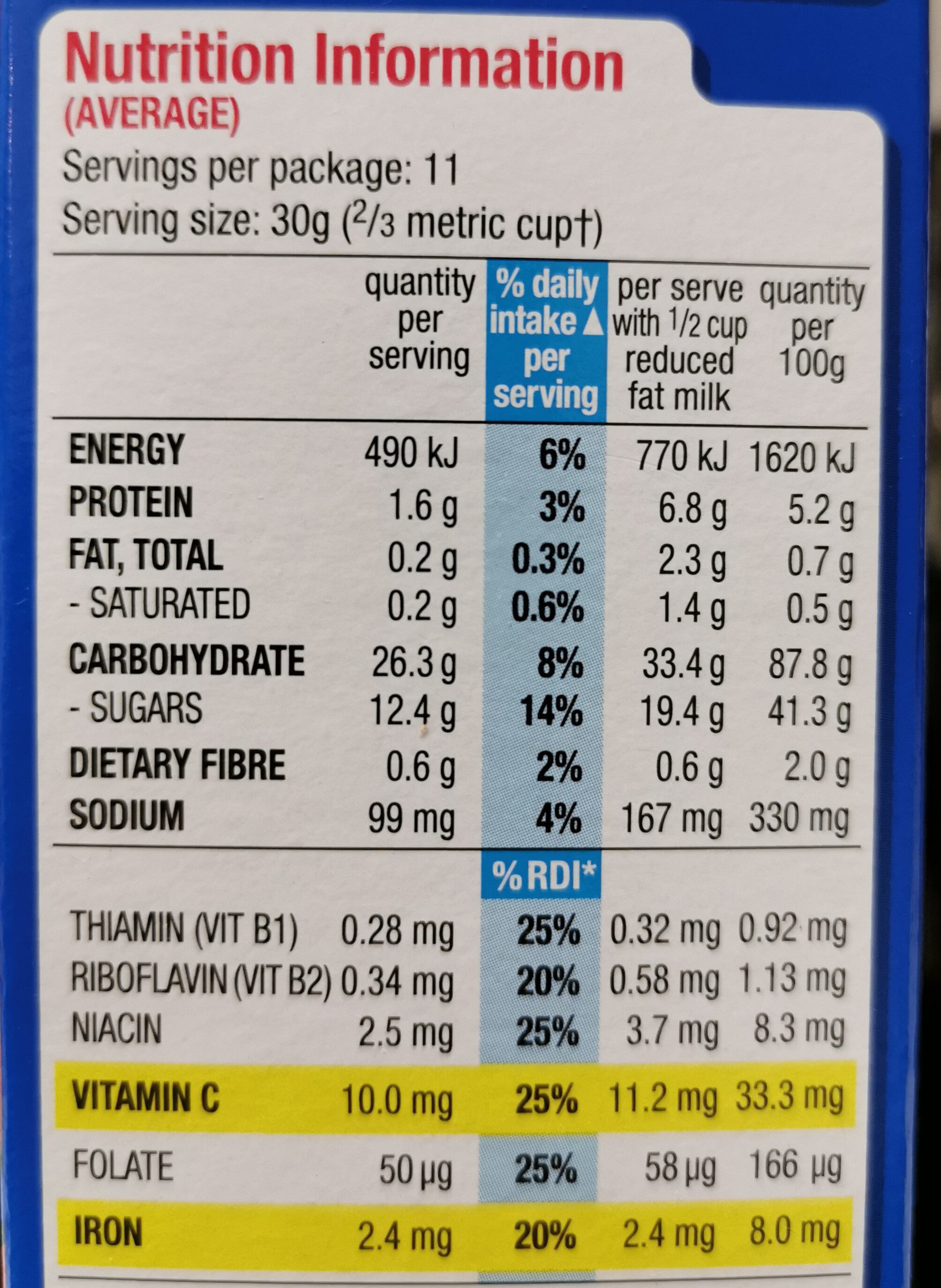 Frosties - Nutrition facts - en