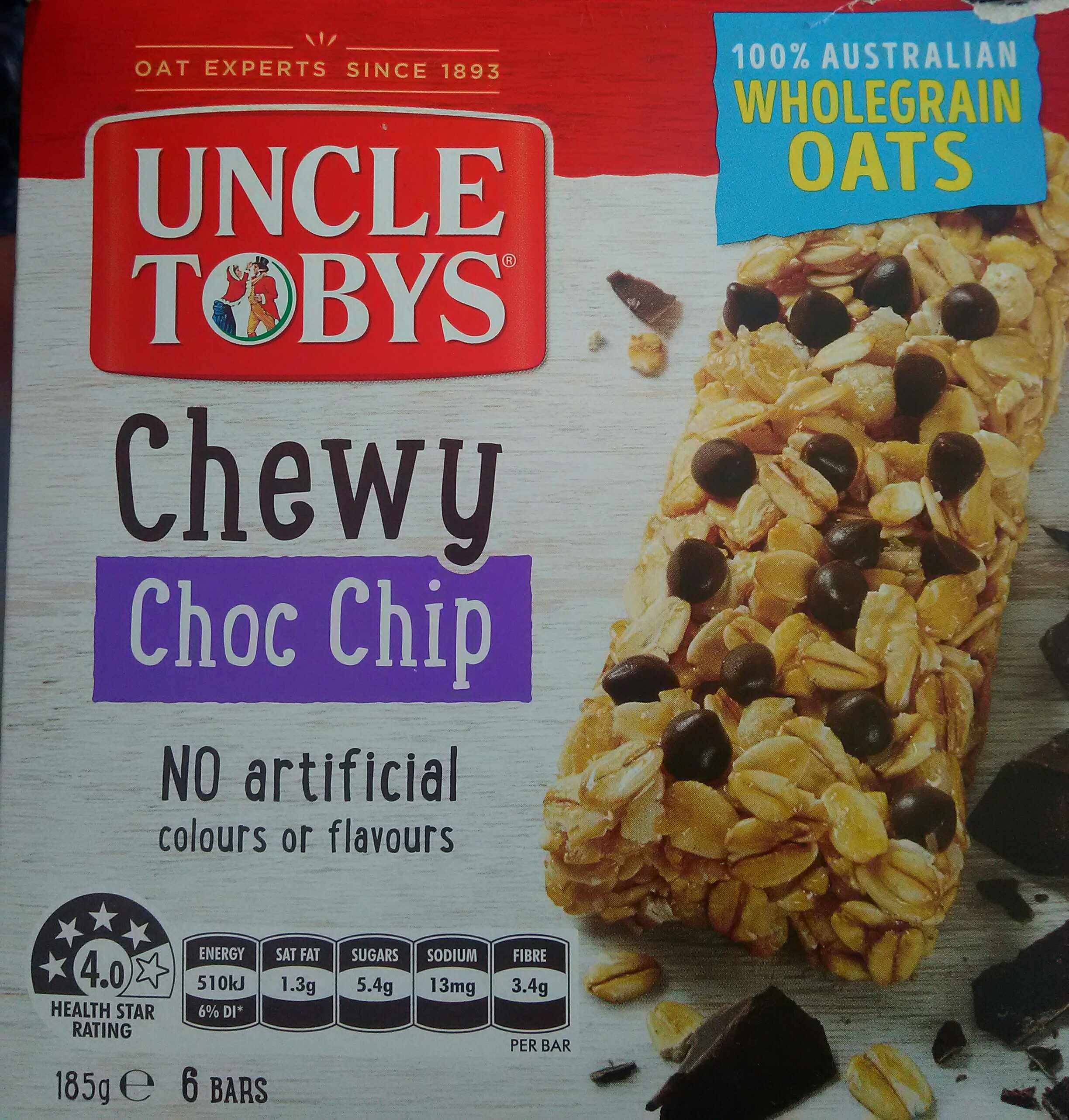 Uncle Tobys Chewy 6 X Choc Chip Muesli Bars - Product - en