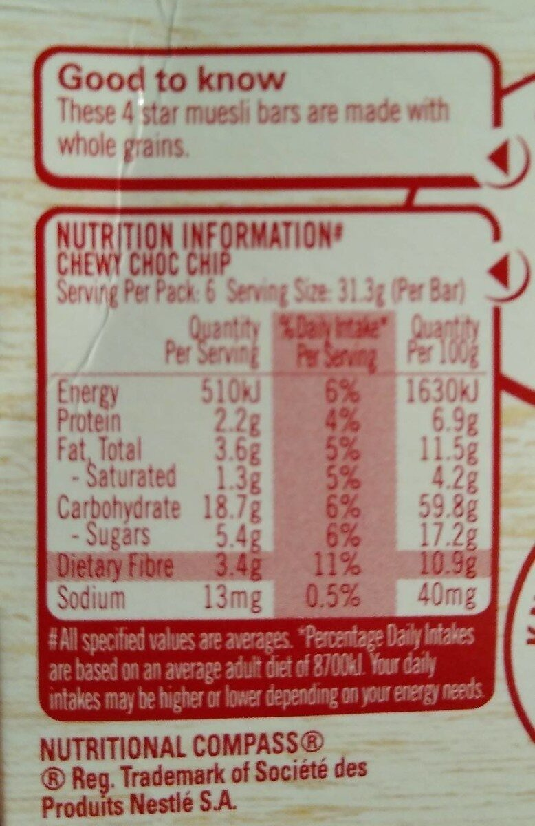 Uncle Tobys Chewy 6 X Choc Chip Muesli Bars - Nutrition facts - en