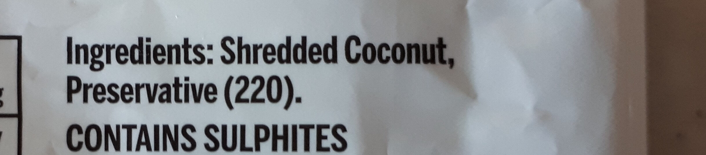 Shredded Coconut - Ingredients