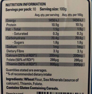 Plain Flour - Nutrition facts