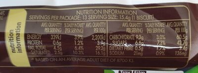 Arnott's, mint slice, delicious biscuits - Nutrition facts - en
