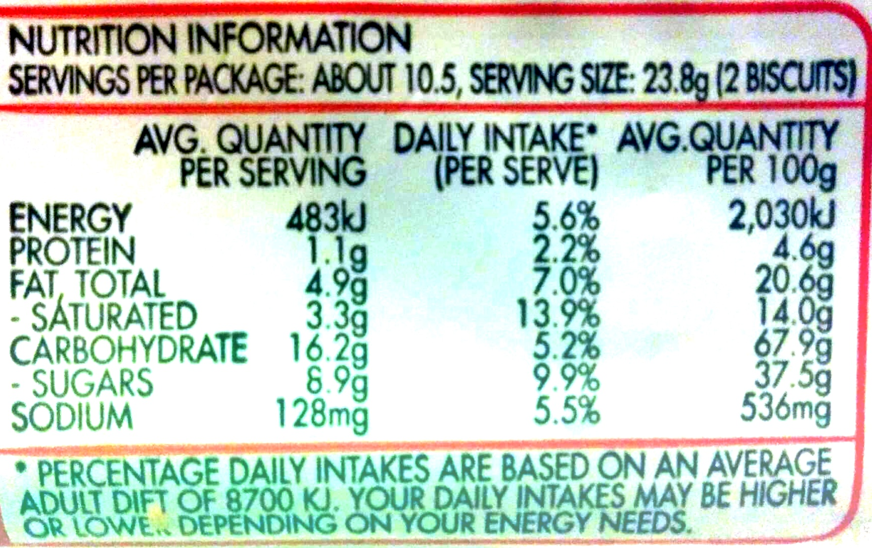 Butternut snap cookie - Informations nutritionnelles