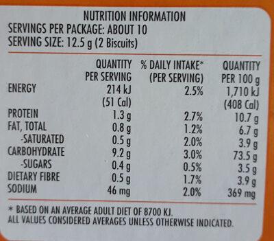 Cruskits Crispbread Original - Nutrition facts