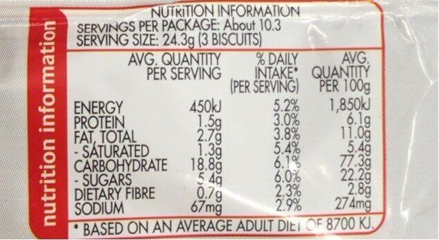 Milk Arrowroot - Nutrition facts - fr