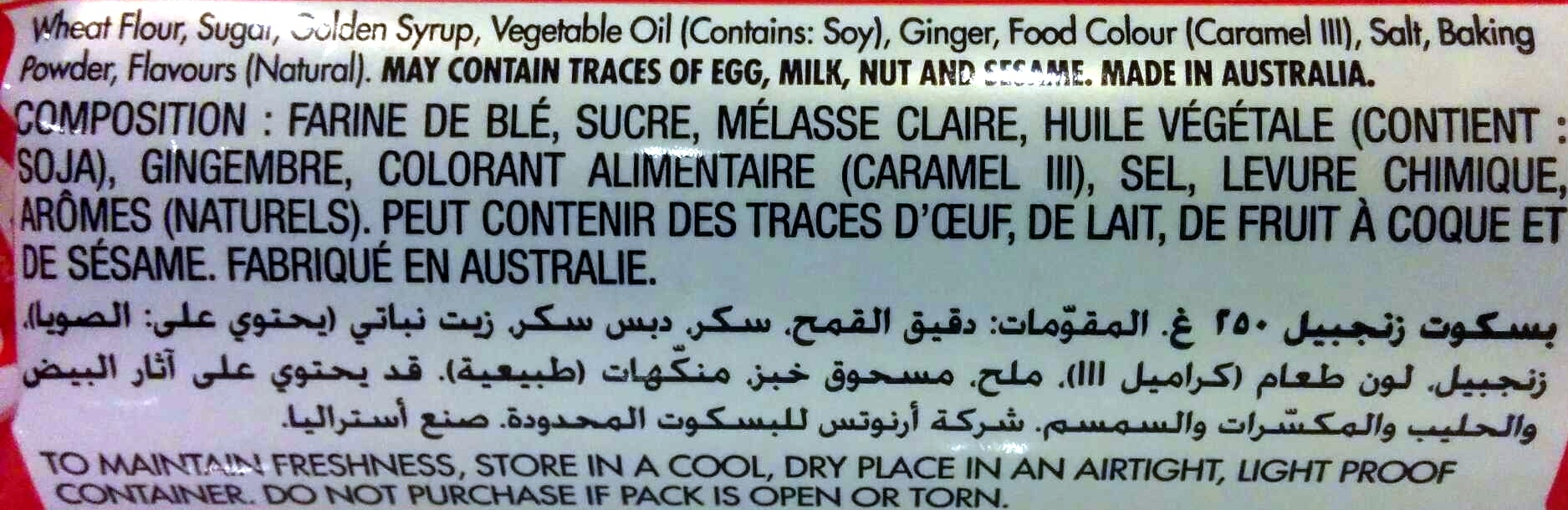 Ginger Nut - Ingredients