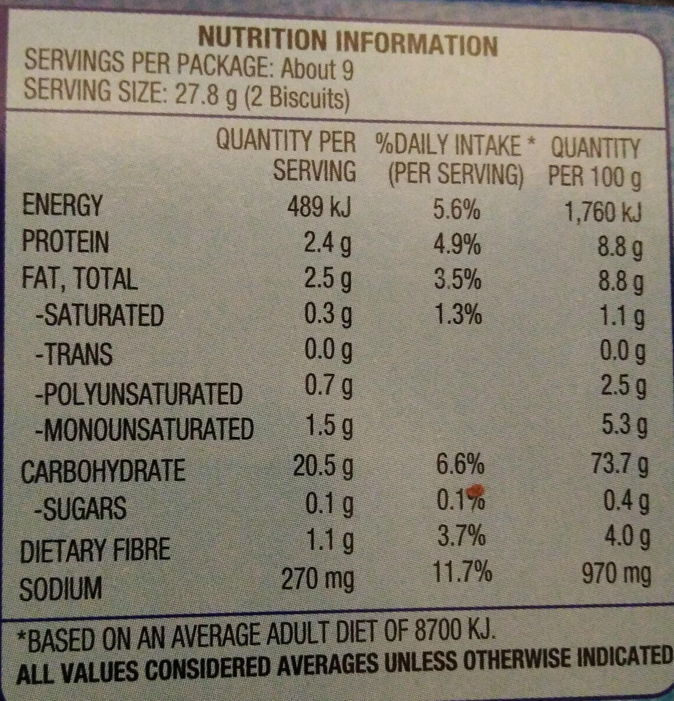 Arnott's Salada Original - Nutrition facts - en