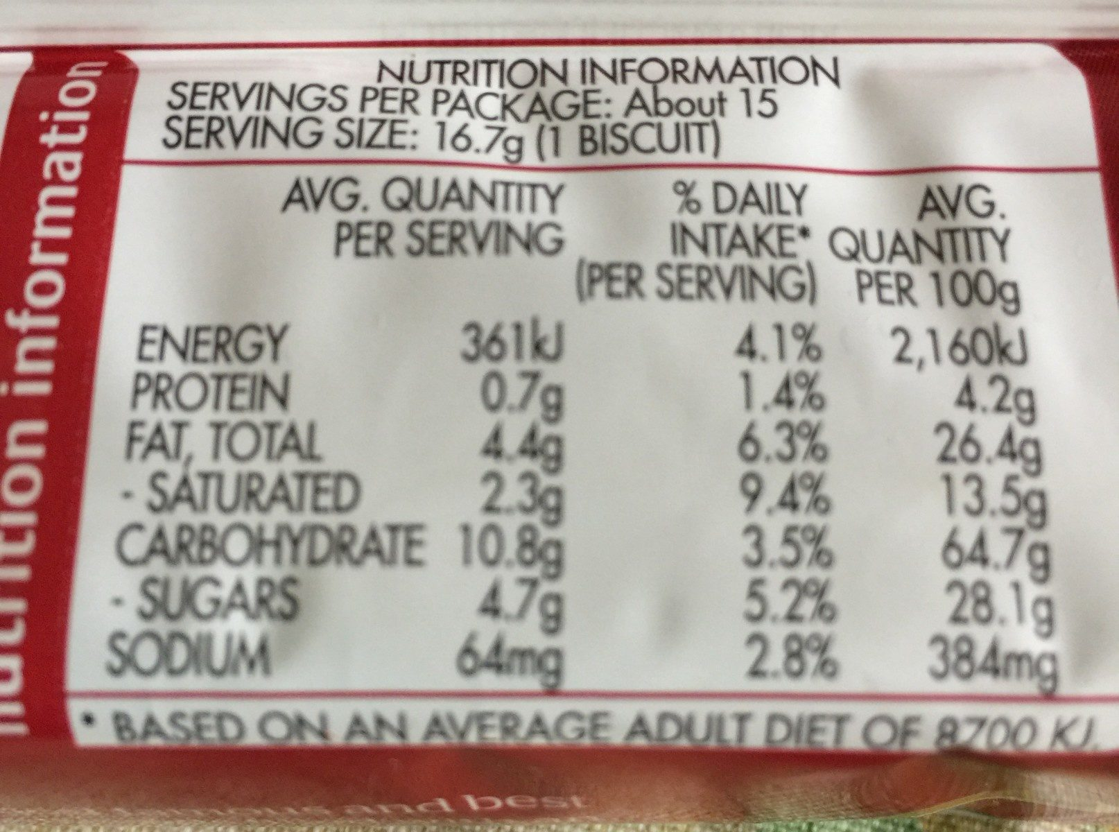 Shortbread Cream - Nutrition facts - fr