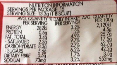 Arnott's Kingston Biscuits 200G - Informations nutritionnelles - fr
