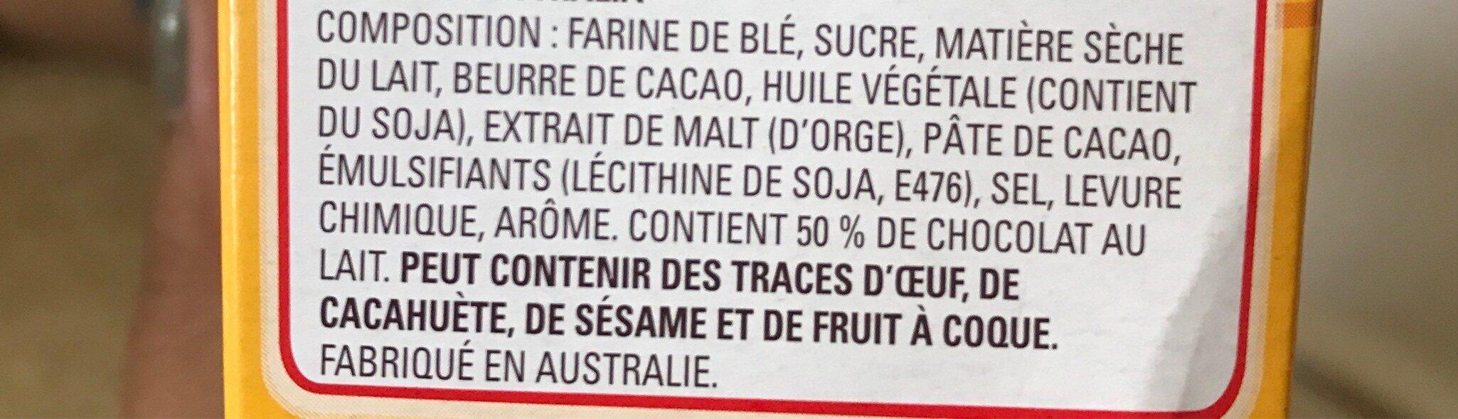 Biscuits Chocolate Teevee Malt Sticks - Ingredients - fr