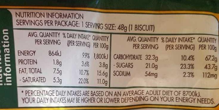 Wagon Wheel - Nutrition facts - en