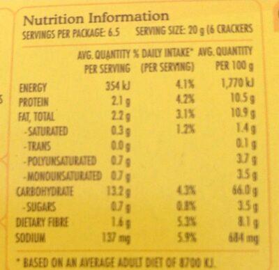 Vita-weat 100% natural crackers sesame and poppy seed - Valori nutrizionali - en