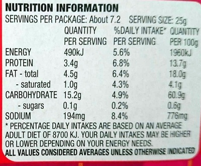 Shapes Cheese & Bacon - Nutrition facts - en