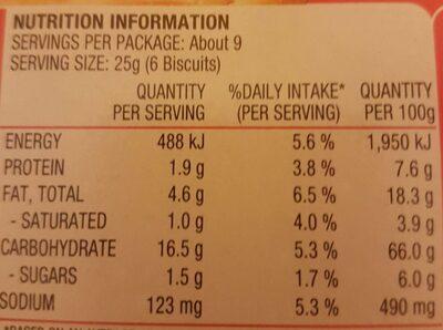 Arnotts Jatz original - Nutrition facts - en