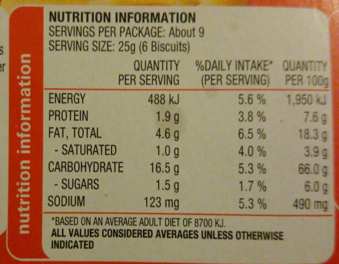 Arnotts Jatz original - Nutrition facts - en