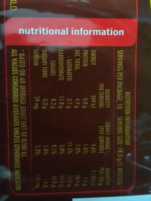 Tim Tams - Nutrition facts - en