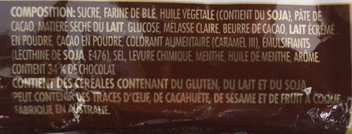 Tim Tam Choc Mint Biscuits - Ingredients - fr