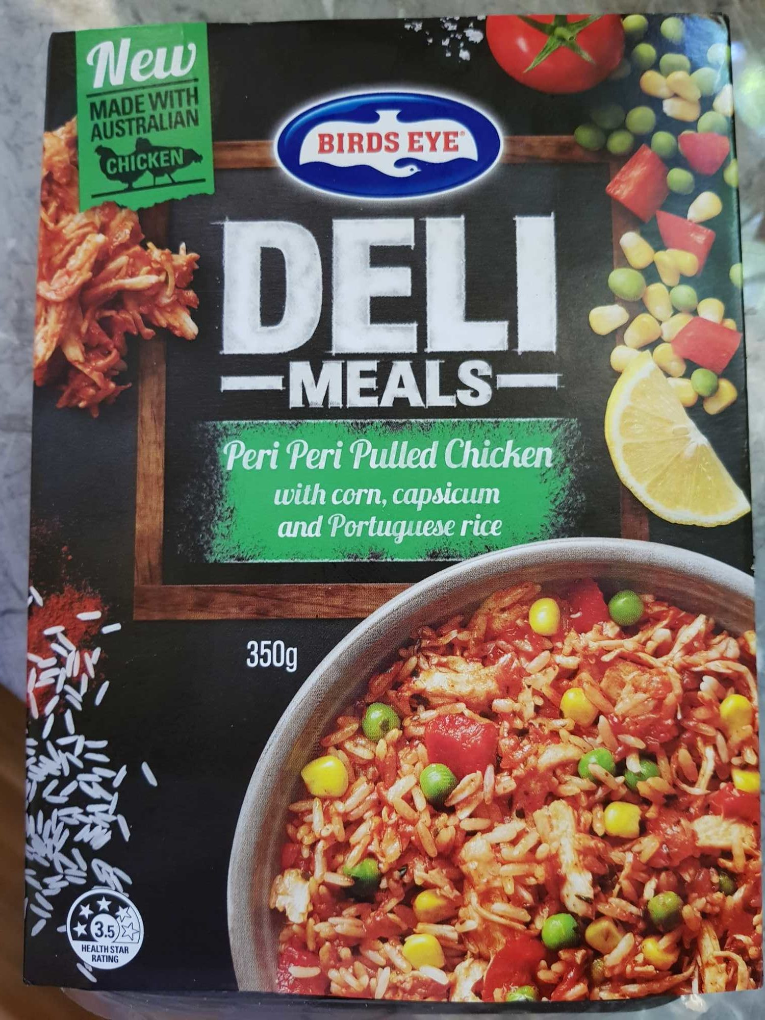 Birds Eye Deli Choices Peri Peri Pulled Chicken with Corn, Capscicum and Portuguese Rice - Product