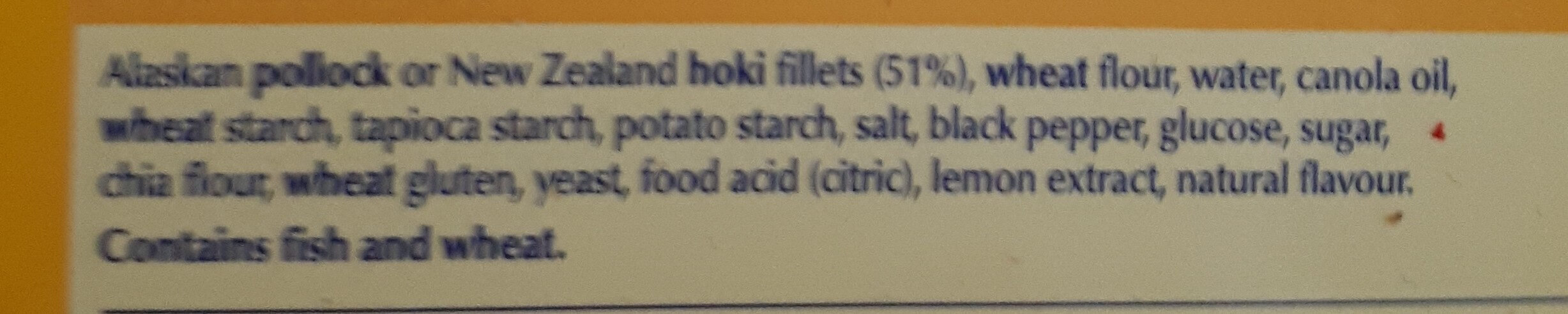 Oven Bake 6 Lemon Pepper Crumb 100% Fish Fillets - Ingredients - en