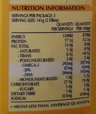 Oven Bake 6 Lemon Pepper Crumb 100% Fish Fillets - Informations nutritionnelles - en