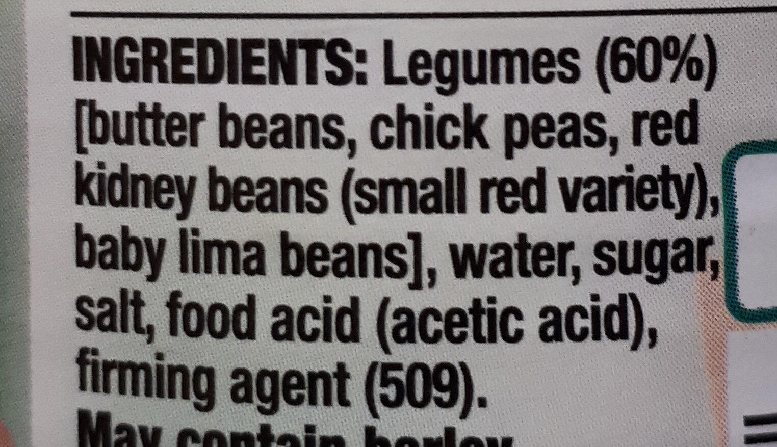 Edgell Four Bean Mix - Ingredients - en