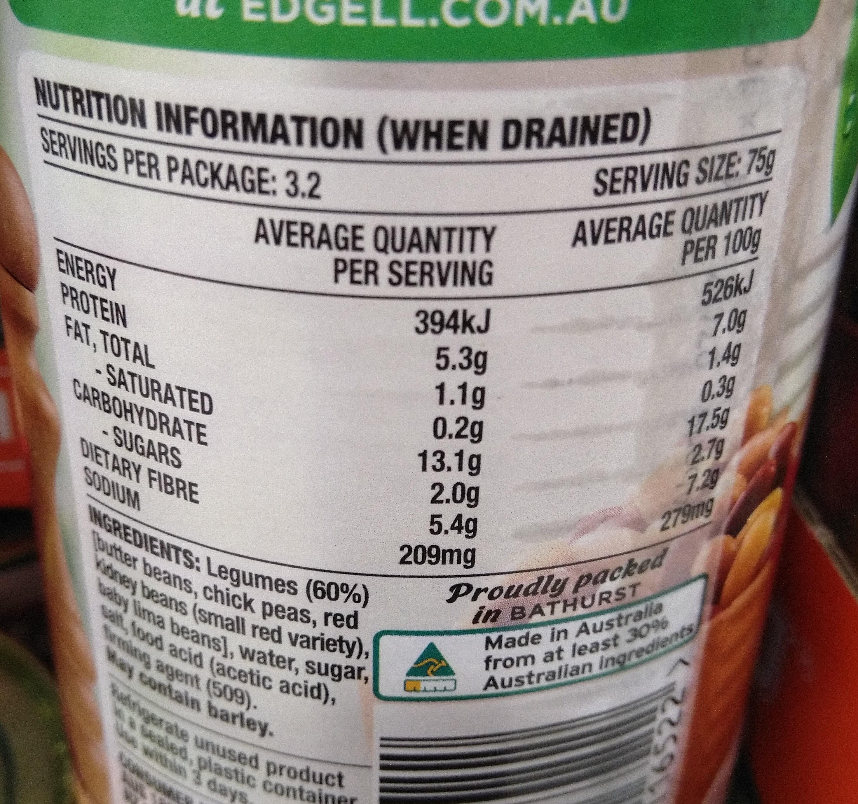 Edgell Four Bean Mix - Nutrition facts - en
