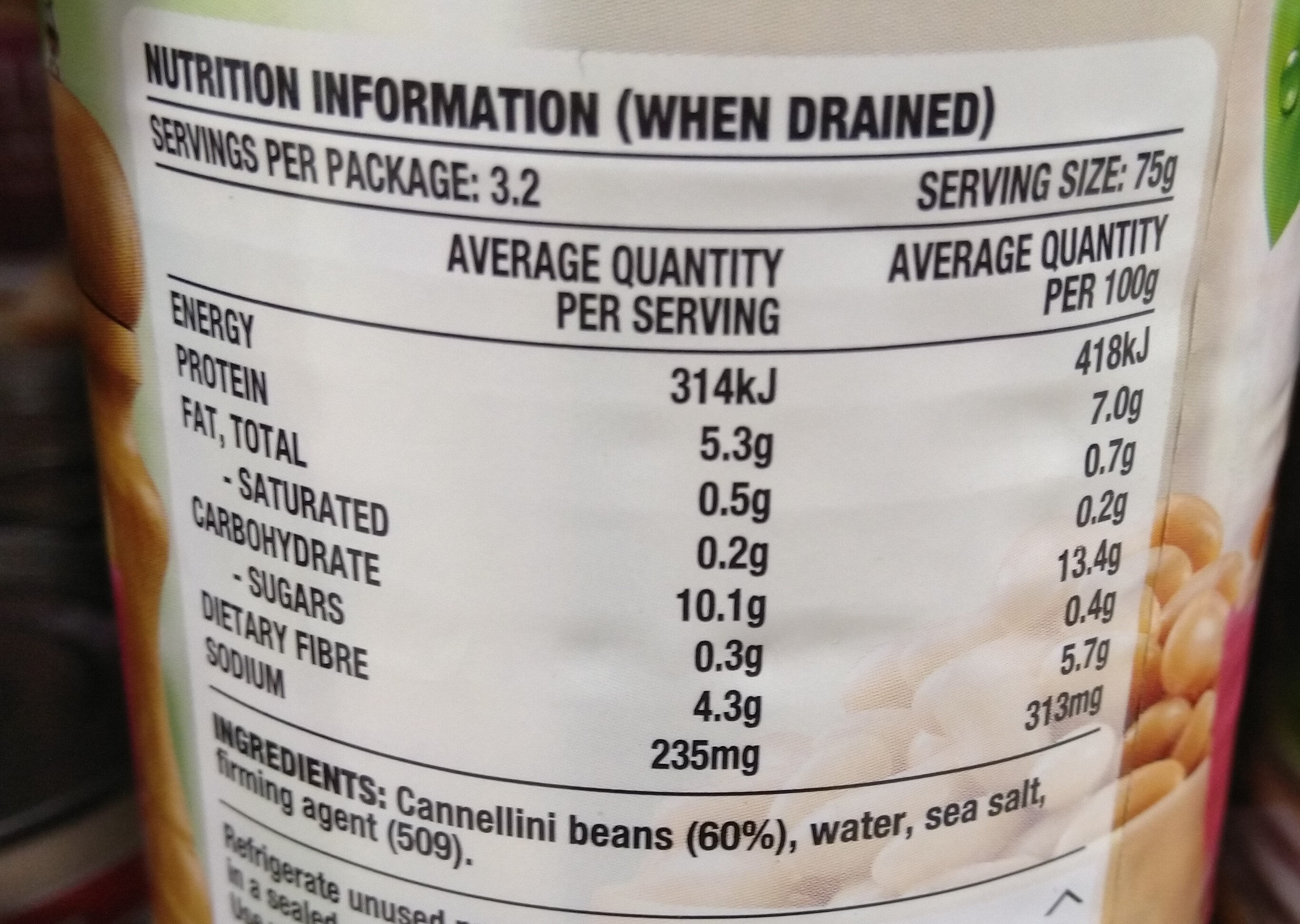Edgell Cannellini Beans - Nutrition facts